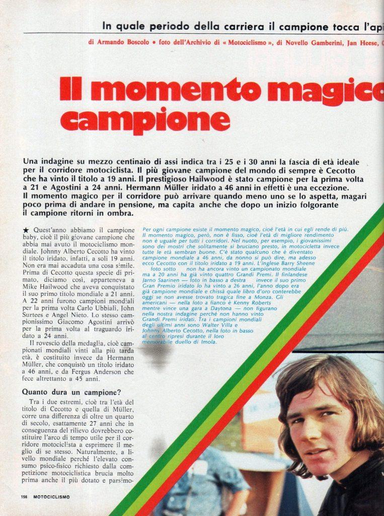 Il momento magico del campione (Motociclismo, 1975)